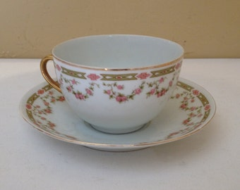 Vintage Tea Cup and Saucer  -pink flowers and green leaves Victoria Austria-VTO31