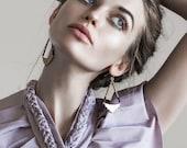 Art Deco Brass Earrings, Chandelier, Earrings, Ebony, Black, Brass