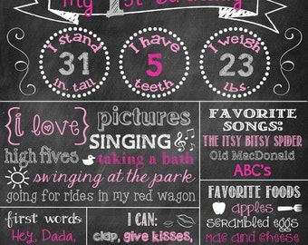 Pink Elephant Birthday Chalkboard Elephant Chevron Flags 1st Birthday Chalkboard 1st Birthday  First Birthday Poster Chalkboard