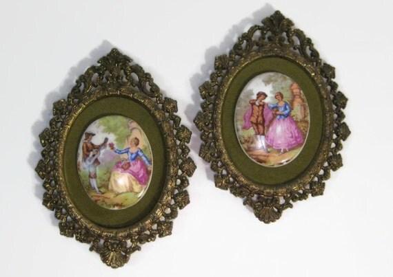 Vintage Framed Fragonard Limoges Porcelain Medallion Ornate