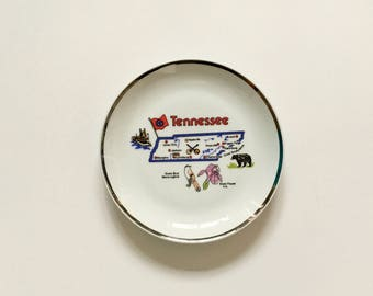 Vintage Plate - State of Tennessee Souvenir Plate - Tennessee Map