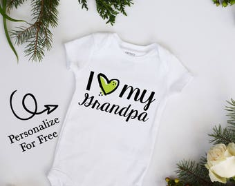 I Love My Grandpa Red Heart Baby Neutral Bodysuit Personalize Custom Name and Color