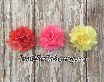 SALE Colorful Satin and Tulle Flower Hair Clip Set, Girls Hair Bows, Toddler Alligator Clips, Pink Coral and Yellow Puff Flower Barrettes,
