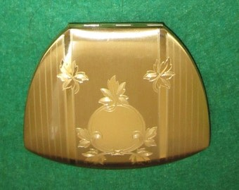 Vintage 1950's Elgin American Gold Tone Art Deco Compact - Free Shipping