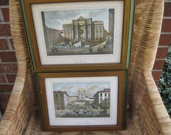 Set of Two Italian Prints,  By Cottafavi, Fontana di Trevi and Piattza De Spagna from the 1970s, from an Estate Sale, FABULOUS!