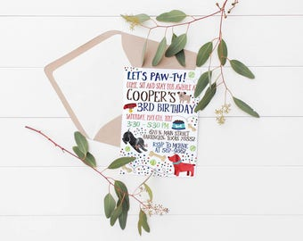 Printable Puppy Paw-ty Kids Birthday Party Invitation