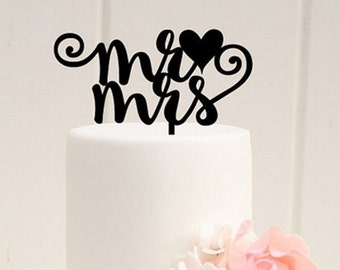 Mr and Mrs Wedding cake topper, Black wedding decoration