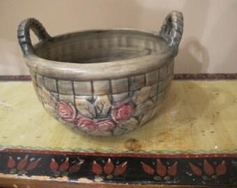 Vintage Weller Basketweave Handled Pottery Bowl