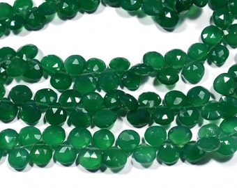 AAA 8 Inch 8-10mm Natural Emerald Green Onyx Faceted Heart Shape Briolette Beads Strand- 40 Beads Approx(9950)