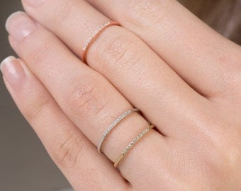 11 diamonds skinny ring, Ultra thin ring, Midi ring,  Delicate diamond ring, Knuckle ring,  Extra thin band, Diamond ring, Diamonds,