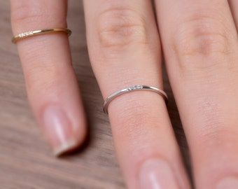 3 diamonds Knuckle ring, Ultra thin ring, Delicate diamond ring, Skinny ring,  Extra thin band, Diamond ring, Diamonds,   Rose thin ring