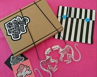 Rat Skeleton Necklace. Halloween Necklace. Curiosity Cabinet. Laser Cut Rats. Skeleton Jewellery. Bones. Creepy. Rat Illustration