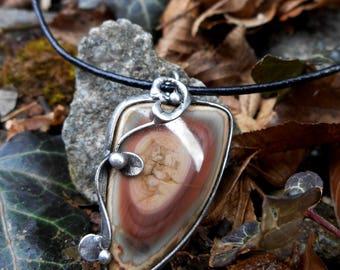 Imperial Jasper Gemstone Pendant made withTiffany technique, Healing Stone