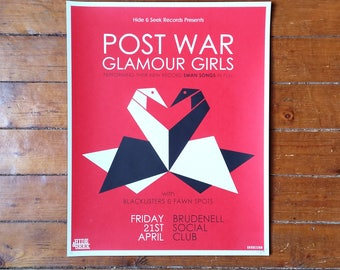 Post War Glamour Girls Screen Print Gig Poster Swan Songs Album Launch Leeds Brudenell 2017 by Or8 Design
