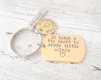 Personalized Teacher Gift, Personalized Teacher Keychain, Custom Teacher Gift, Personalized Keychain, Teacher Gift, It Takes A Big Heart