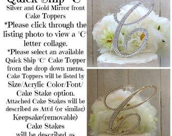 C Wedding Cake Toppers, C Wedding Cake Topper, Initial C Gold Cake Topper, letter C Gold Cake Topper, Swarovski Crystals, Ships in 1-2 weeks