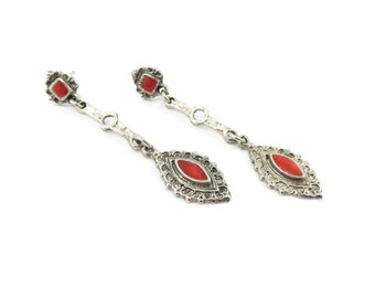 Vintage Ethnic Dangle Earrings, Red Enamel, Silver Tone, Posts