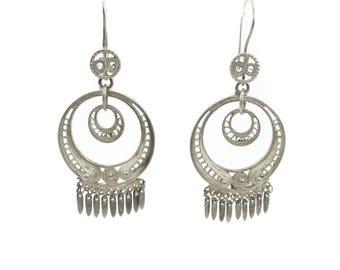 Vintage Mexico Filigree Earrings, Sterling Silver, Dangles, Hooks, Marked Mex 925