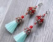 Tassel Earrings-Bohemian earrings-Long Earrings -Sterling silver-Chandelier earrings-Gift-Evening earrings-Fringe-Tassel