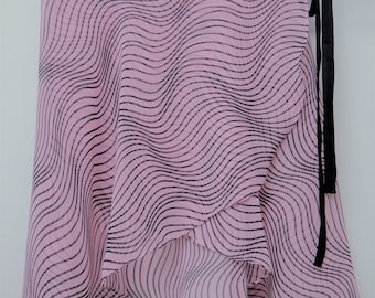 Pink and Black Striped  Ballet Wrap Skirt-  Short