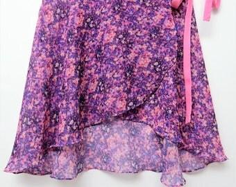 Magenta floral ballet wrap skirt-  Short