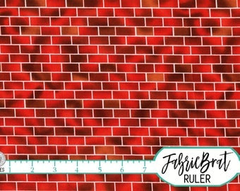 RED BRICK by Brick Fabric by the Yard, Fat Quarter Michael Miller Red Brick Wall Fabric Apparel Quilting Fabric 100% Cotton Fabric w6-14