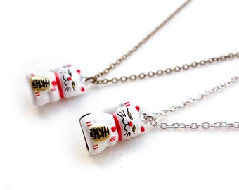 Fortune Cat Maneki Neko Necklace/Pendant with a bell, dull silver chain, Japanese Lucky cat Necklace, Lucky cat with dull silver chain