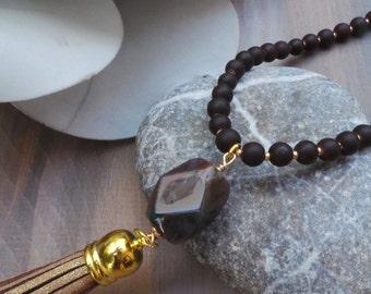 Brown tassel necklace. Boho necklace. Bohemian tassel necklace. Long beaded tassel necklace with indian agate gemstone.