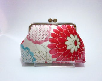 Pink floral Pouch/ cosmetic bag/ Kimono pouch/ Handmade/4