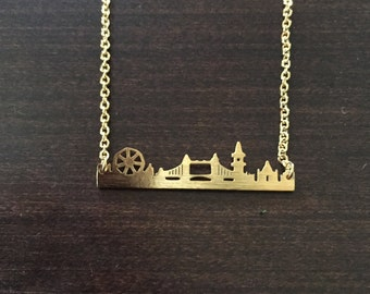 London, London skyline, London skyline necklace, London jewelry, London pendant, gold London, gold London necklace, gold necklace, necklace