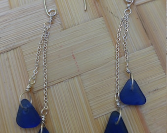 Double hung cobalt blue seaglass on sterling silver wire and sterling silver chain