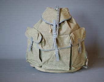 NEW OLD Stock 1950s Swiss Army Backpack, Swiss Army Rucksack, extra straps, Swiss Military Leather Canvas Bag, FHD Rucksack Backpack