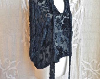 Black Silk Velvet Burnout Tie Neck Blouse