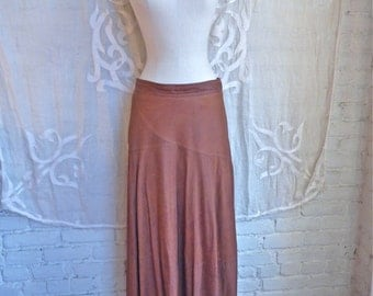 Brown Leather Full Maxi Skirt