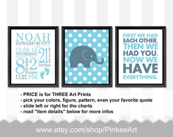 baby boy nursery decoration elephant, birth stats wall art, baby boy room decor, baby decor, personalized baby gifts, birth announcement