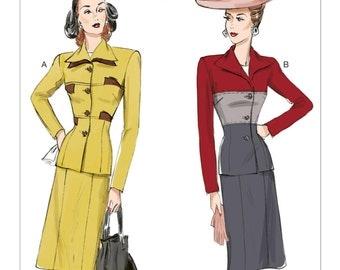 6286, Butterick, Out of Print, Retro 1944 Dress, Colorblock Jacket, Skirt, 1940's dress, 40's dress, Vintage Style, Reproduction pattern