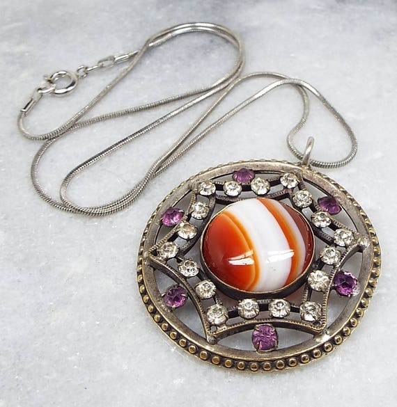 Antique / Victorian Edwardian Scottish Agate Statement Star Pendant Necklace