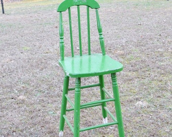 Vintage Wooden Stool Kitchen Counter Bar Seating Rustic Green Chippy Paint Cottage Home Decor PanchosPorch