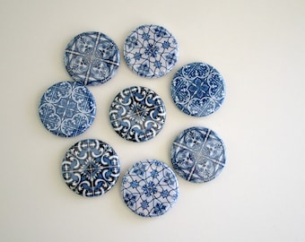 Blue Tile Print Refrigerator Magnets - Fridge Magnet Set - Gift for Mom - Blue and White Farmhouse or Cottage Decor for Kitchen or Office