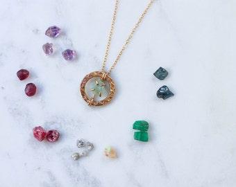 Gold + Rough Gemstone Birthstone Necklace