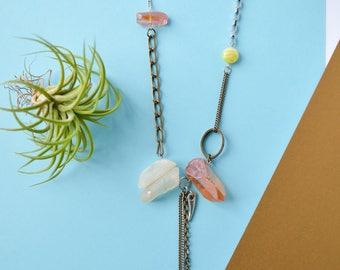 Natural peach crystal point quartz necklace, brass oval, yellow flower jade stone, brass chunky chain, cherry quartz, long quartz necklace.