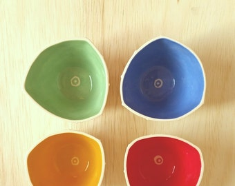 Set of 4 small cups. Handmade ceramic espresso cups. Shot glasses in primary colors