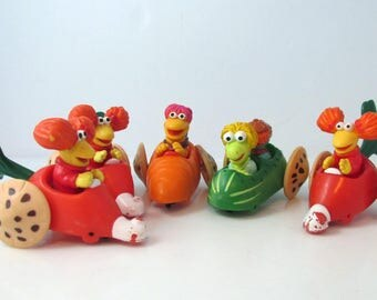 Fraggle Rock McDonalds Fast Food Happy Meal Toys Lot Vegetable Cars - Lot of 4