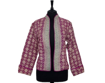KANTHA JACKET - X Large - Short style - Size 14/16 - Deep pink and beige. Reverse the same