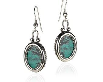 Beautiful New Sterling Silver Jewelry Blue Green Eilat Stone Dangle Drop Oval Earrings