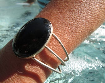 Black Onyx and Sterling Cuff Bracelet