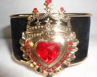 Black Velvet Heart Crown Bracelet Cuff***.