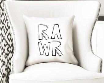 Rawr throw pillow cover - fun dinosaur kids room decor by nkdna