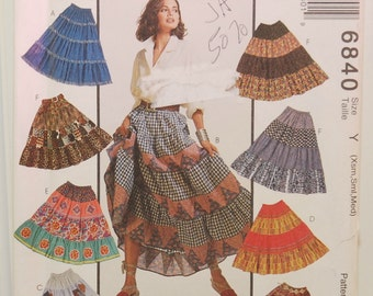 McCall's 6840 (c.1993) Sewing Pattern, Creative Clothing, Tiered Skirt, Misses Size Extra Small, Small and Medium, Boho Style