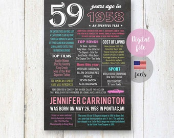 1958 birthday gift - 59th birthday gift idea for mother in law wife best boss - Personalized 59th birthday poster for her DIGITAL file!